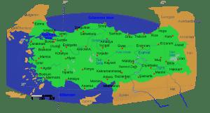 Kort over Tyrkiet